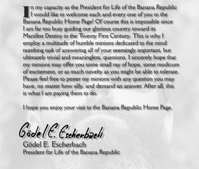 Banana Republic Home Page welcome Message